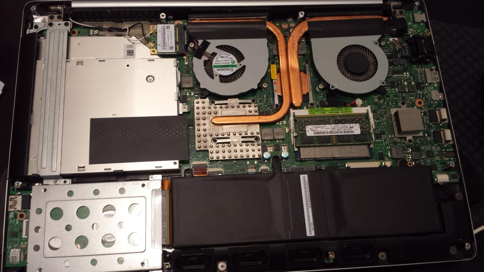 Inside the Asus N550JV laptop (opening)