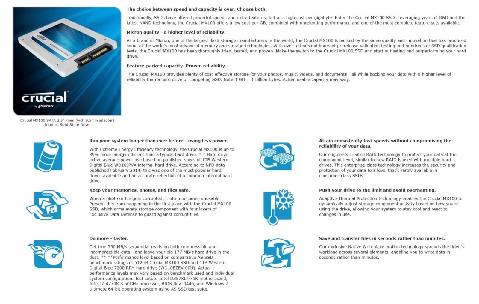 Crucial MX100 product description