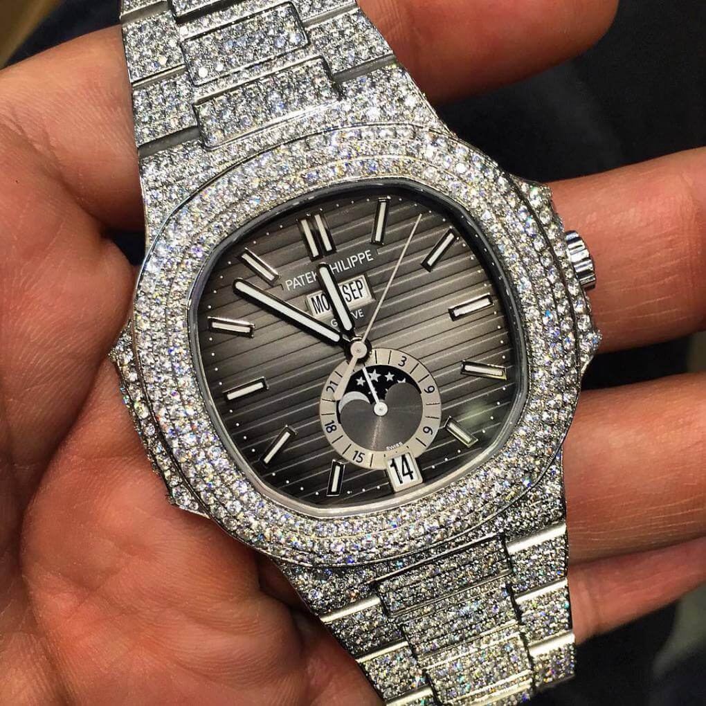 Iced Out Patek Philippe Nautilus with diamonds (Photo pristine ...