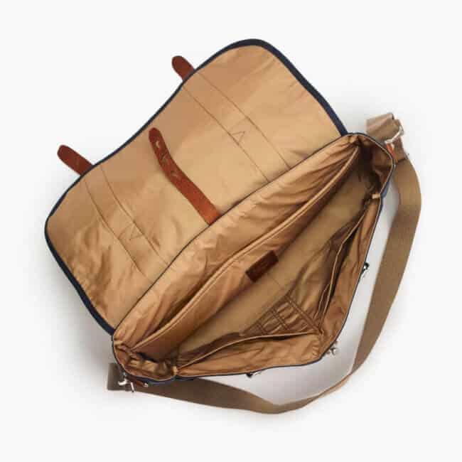 J Crew Harwick Messenger bag interior caramel lining